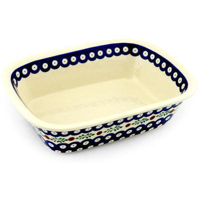 "Polish Pottery Rectangular Baker 9"" Peacock Hollies"