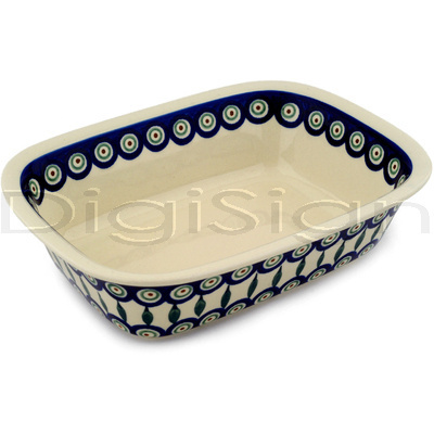 "Polish Pottery Rectangular Baker 9"" Peacock Leaves"