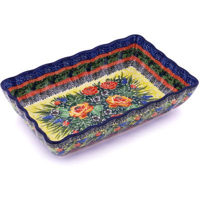 "Polish Pottery Rectangular Baker 9"" Splendid Morning Glow UNIKAT"