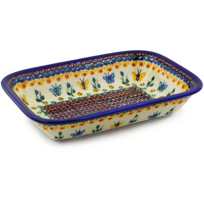 "Polish Pottery Rectangular Baker 9"" UNIKAT"
