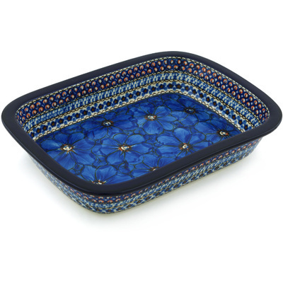 Polish Pottery Rectangular Baker with Grip Lip 10-inch Cobalt Poppies UNIKAT