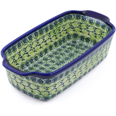 "Polish Pottery Rectangular Baker with Handles 10"" Emerald Forest"