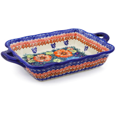 "Polish Pottery Rectangular Baker with Handles 12"" Butterfly Splendor UNIKAT"