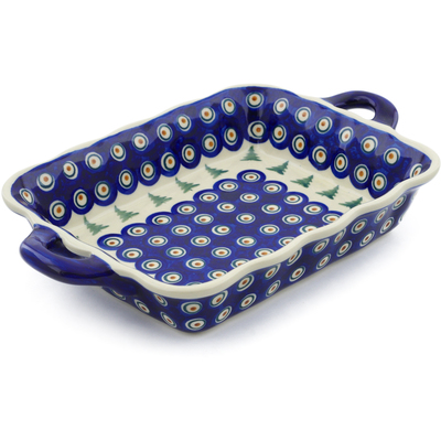 "Polish Pottery Rectangular Baker with Handles 12"" Peacock Pines"