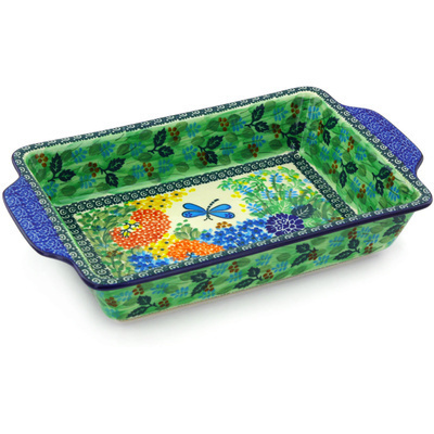 "Polish Pottery Rectangular Baker with Handles 13"" Garden Delight UNIKAT"