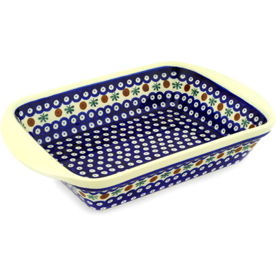 "Polish Pottery Rectangular Baker with Handles 14"" Mosquito"