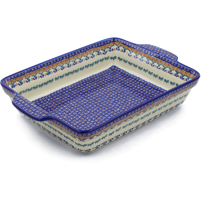 "Polish Pottery Rectangular Baker with Handles 15"" Blue Cress UNIKAT"
