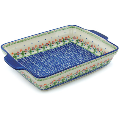 "Polish Pottery Rectangular Baker with Handles 15"" Spring Flowers"