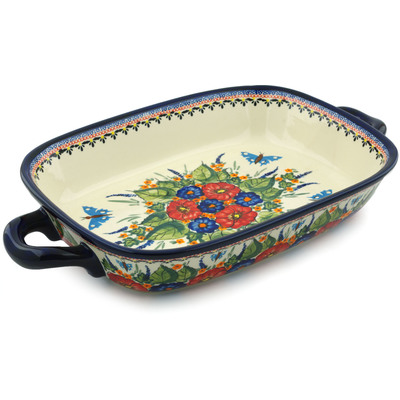 "Polish Pottery Rectangular Baker with Handles 18"" Spring Splendor UNIKAT"