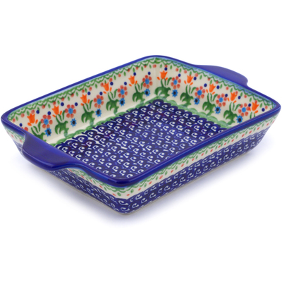 "Polish Pottery Rectangular Baker with Handles 9"" Spring Flowers"