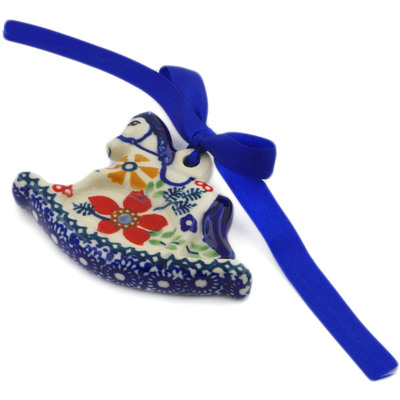 Polish Pottery Rocking Horse Ornament 2 oz Ruby Bouquet UNIKAT