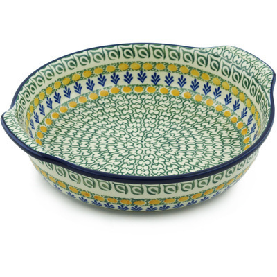 Polish Pottery Round Baker with Handles 10-inch Autumn Weatfields