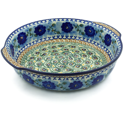 Polish Pottery Round Baker with Handles 10¼-inch Blue Poppy Circle UNIKAT