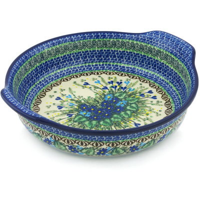 Polish Pottery Round Baker with Handles 10-inch Blue Violet Garden UNIKAT