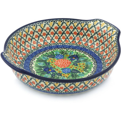 Polish Pottery Round Baker with Handles 10-inch Superb Sequence UNIKAT