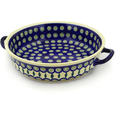 "Polish Pottery Round Baker with Handles 13"" Peacock Leaves"