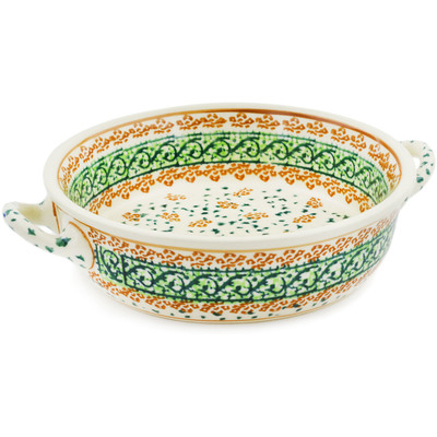 Polish Pottery Round Baker with Handles 6-inch Garden Gladiolus