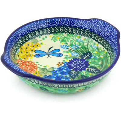 "Polish Pottery Round Baker with Handles 7"" Garden Delight UNIKAT"
