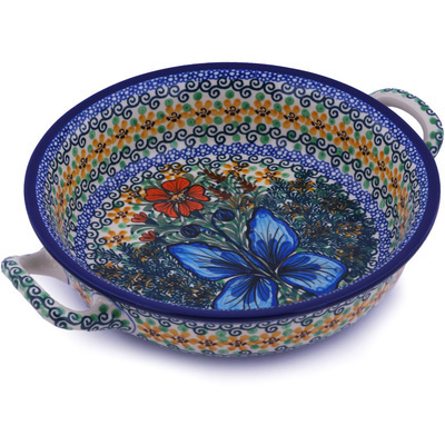 Polish Pottery Round Baker with Handles Medium Butterfly Holly UNIKAT