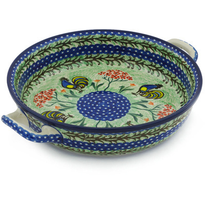 Polish Pottery Round Baker with Handles Medium Rooster Dance UNIKAT