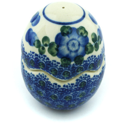 "Polish Pottery Salt and Pepper Set 3"" Blue Poppies"