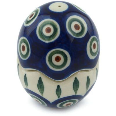 "Polish Pottery Salt and Pepper Set 3"" Peacock Leaves"