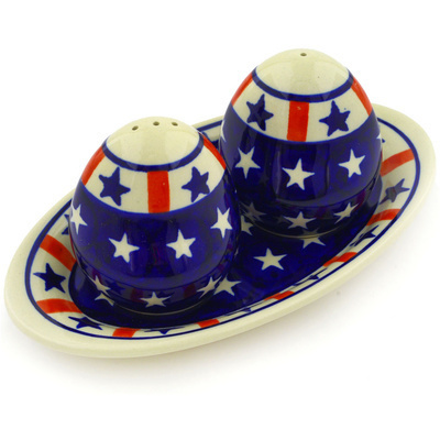 "Polish Pottery Salt and Pepper Set 7"" Americana"