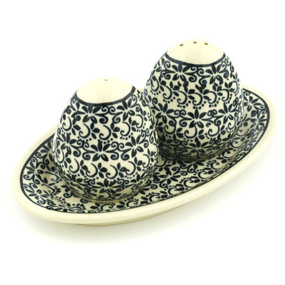 "Polish Pottery Salt and Pepper Set 7"" Black Lace Vines"