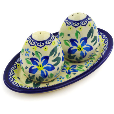 "Polish Pottery Salt and Pepper Set 7"" Blue Clematis"