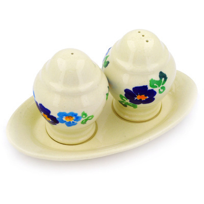 "Polish Pottery Salt and Pepper Set 7"" Blue Delight"