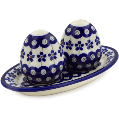 "Polish Pottery Salt and Pepper Set 7"" Flowering Peacock"