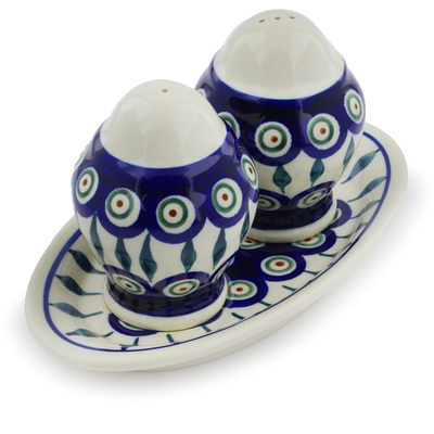 "Polish Pottery Salt and Pepper Set 7"" Peacock Leaves"