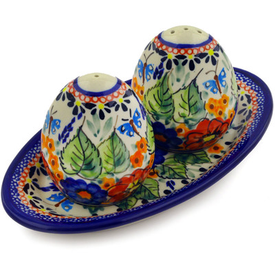"Polish Pottery Salt and Pepper Set 7"" Spring Splendor UNIKAT"