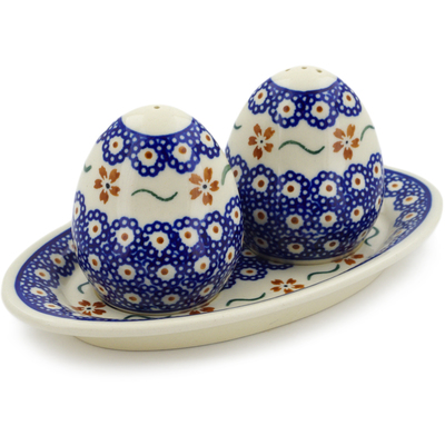 "Polish Pottery Salt and Pepper Set 7"" Sweet Red Flower"