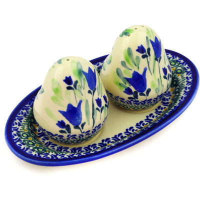 "Polish Pottery Salt and Pepper Set 7"" Tulip Fields UNIKAT"