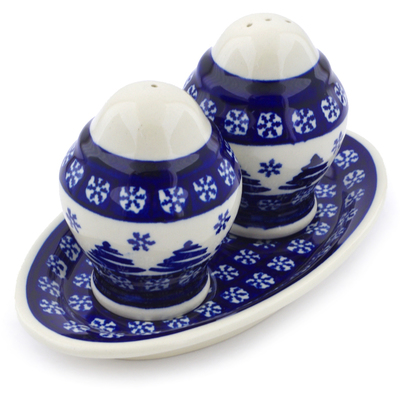 "Polish Pottery Salt and Pepper Set 7"" Winter Snowflake And Pine Tree"