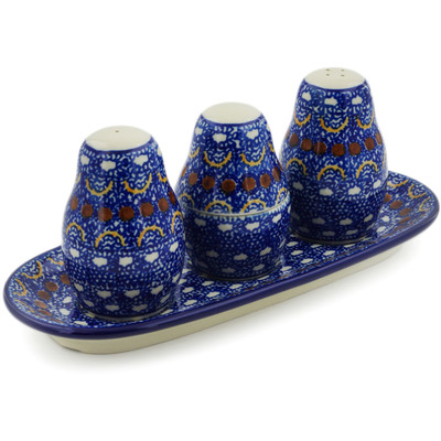 "Polish Pottery Salt and Pepper with Toothpick Holder 10"" Blue Horizons"