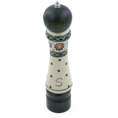 "Polish Pottery Salt Grinder 8"" Sunburt Circle"