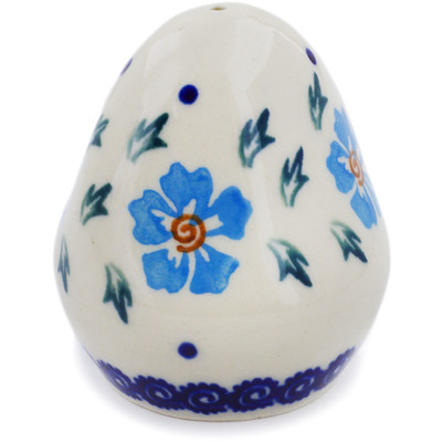 "Polish Pottery Salt Shaker 3"" Blue Cornflower"