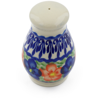 "Polish Pottery Salt Shaker 3"" Floral Burst"