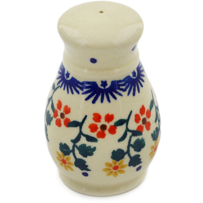 "Polish Pottery Salt Shaker 3"" Red Sunflower"