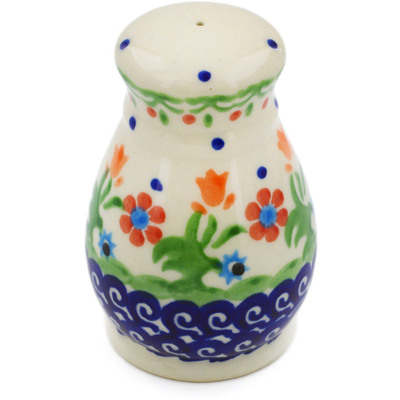 "Polish Pottery Salt Shaker 3"" Spring Flowers"