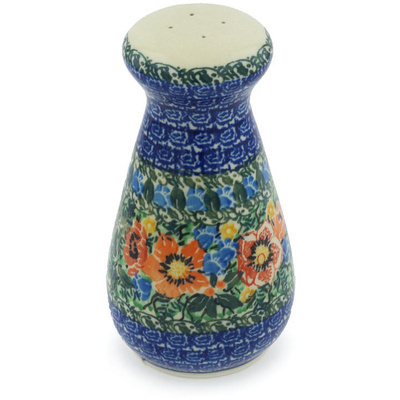 "Polish Pottery Salt Shaker 6"" Blue Daisy Bouquet UNIKAT"