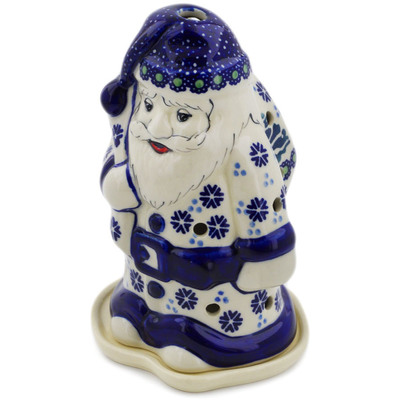 "Polish Pottery Santa Candle Holder 6"" Falling Snowflakes"