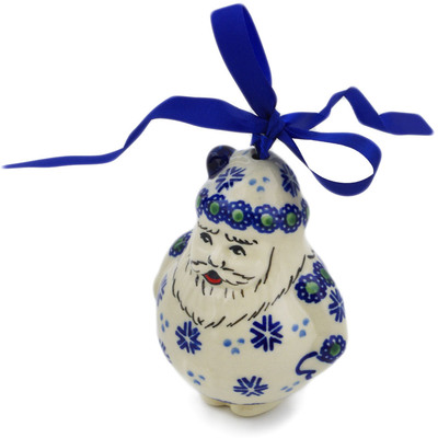 "Polish Pottery Santa Clause Ornament 4"" Falling Snowflakes"