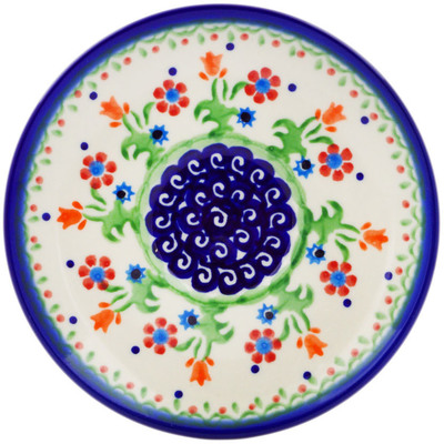 "Polish Pottery Saucer 5"" Spring Flowers"