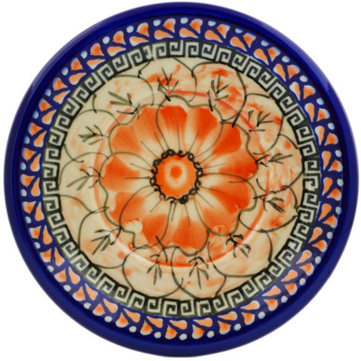 "Polish Pottery Saucer 6"" Fire Poppies UNIKAT"