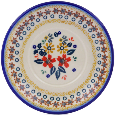 "Polish Pottery Saucer 6"" Red Anemone Meadow UNIKAT"