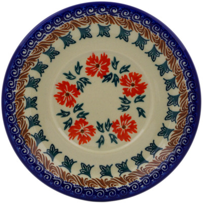 "Polish Pottery Saucer 6"" Red Cornflower"