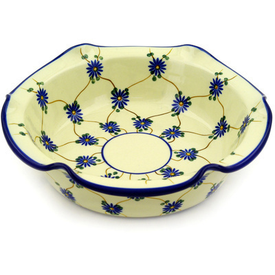 "Polish Pottery Scalloped Bowl 10"" Aster Trellis"